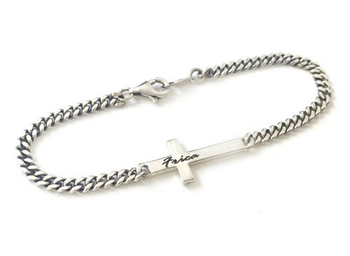 FLAT CROSS CHAIN BRACELET